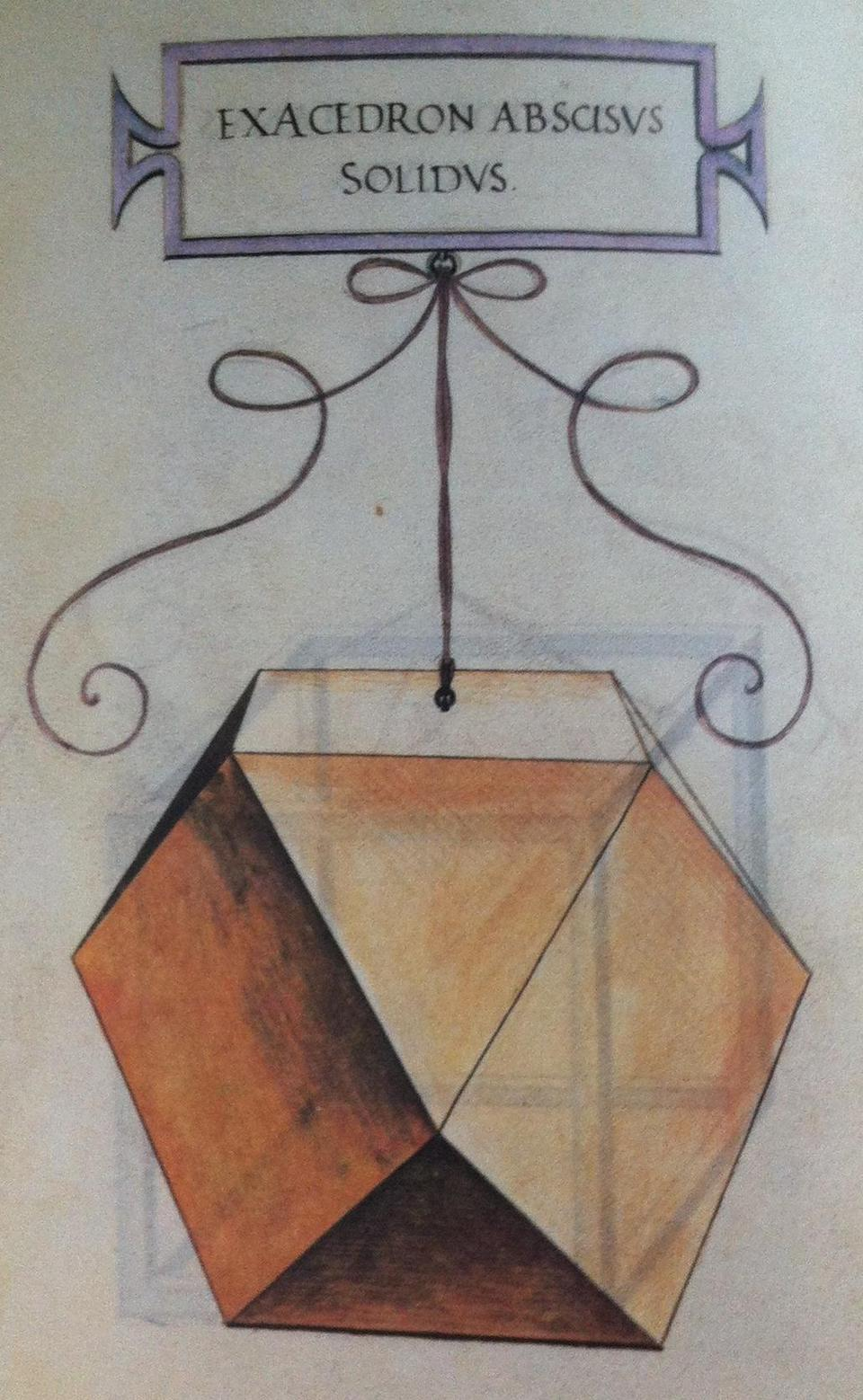 A drawing of a cuboctahedron by Leonardo da Vinci