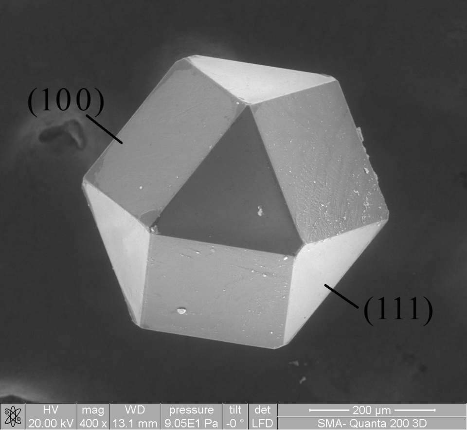 Cuboctahedral synthetic diamond crystal