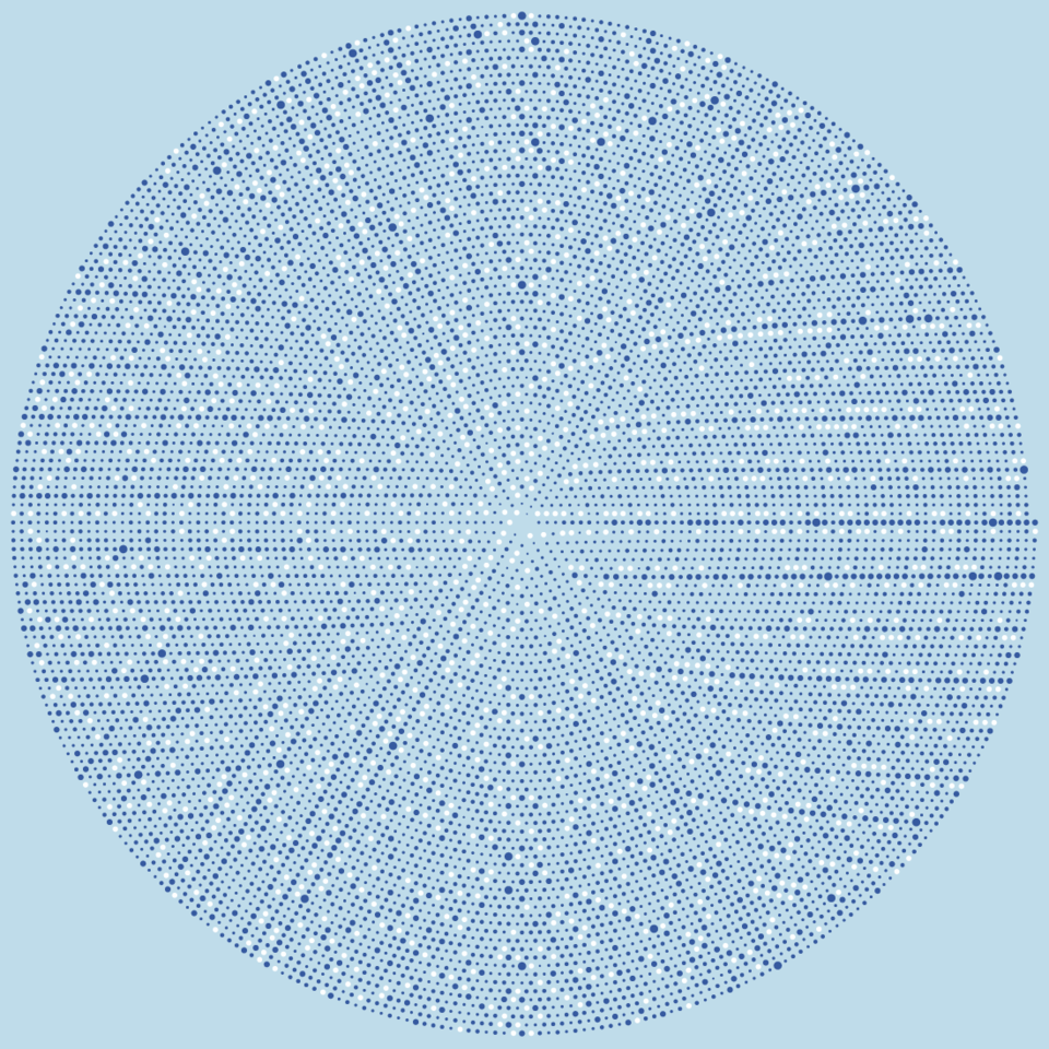 Graham spiral: primes superimposed over unique prime factors to 10,620