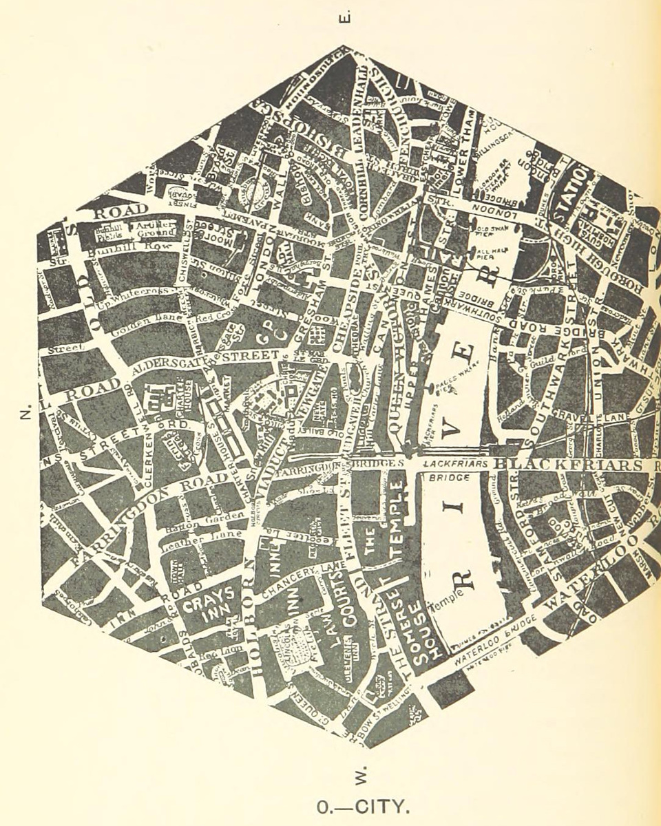 The City of London as a hexagonal borough at the center of Greater London