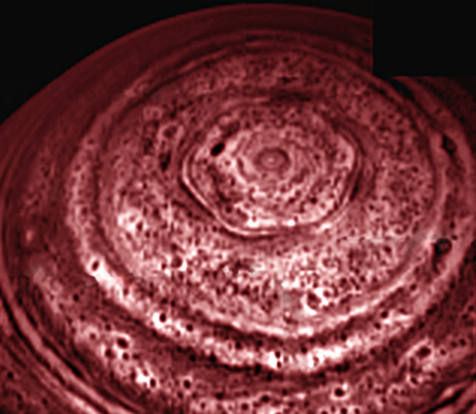 Saturn hexagon from Cassini - 2007-03-27
