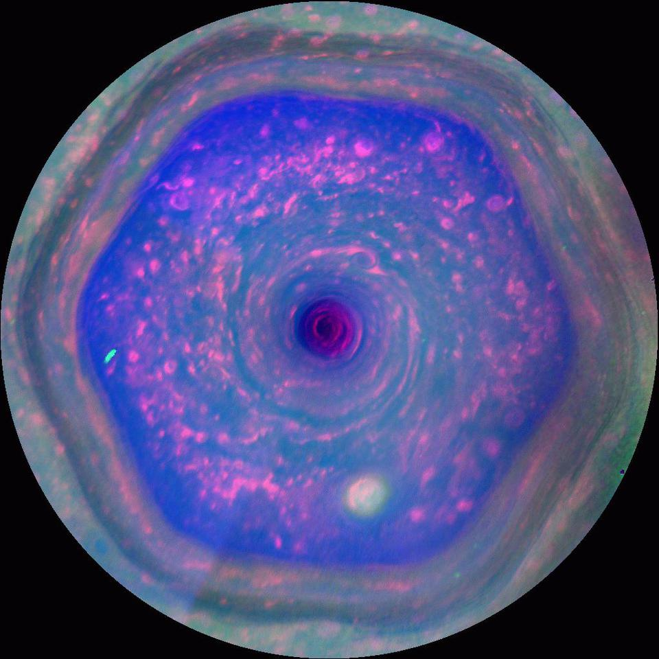 Saturn hexagon from Cassini - 2013-12