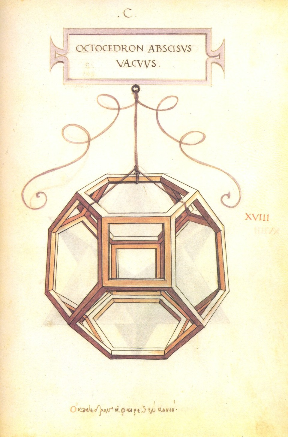 A drawing of a truncated octahedron by Leonardo da Vinci