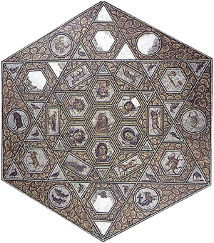 A hexagonal mosaic of the zodiac